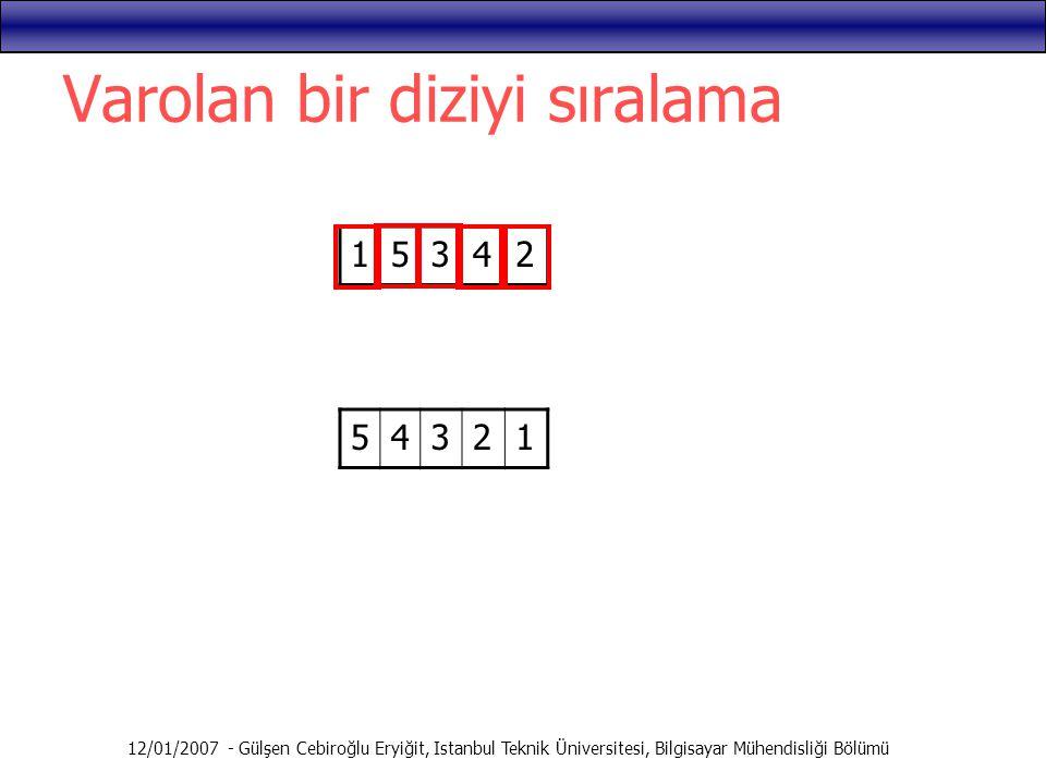 12/01/2007 - Gülşen Cebiroğlu Eryiğit, Istanbul Teknik Üniversitesi, Bilgisayar Mühendisliği Bölümü Varolan bir diziyi sıralama 15342 54321