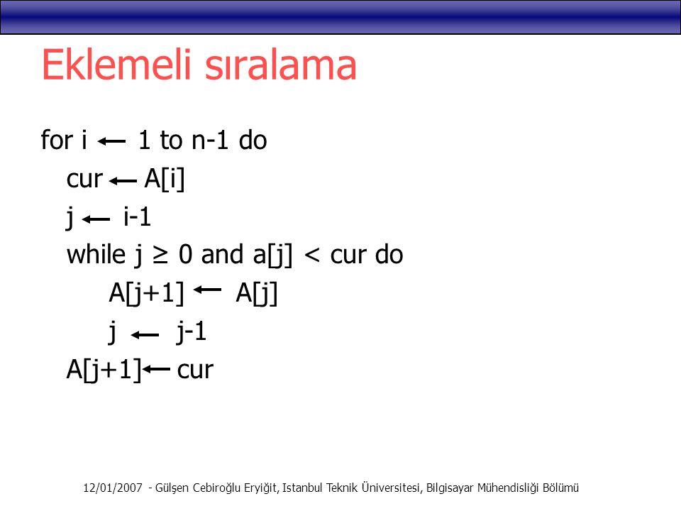 12/01/2007 - Gülşen Cebiroğlu Eryiğit, Istanbul Teknik Üniversitesi, Bilgisayar Mühendisliği Bölümü Eklemeli sıralama for i 1 to n-1 do cur A[i] j i-1