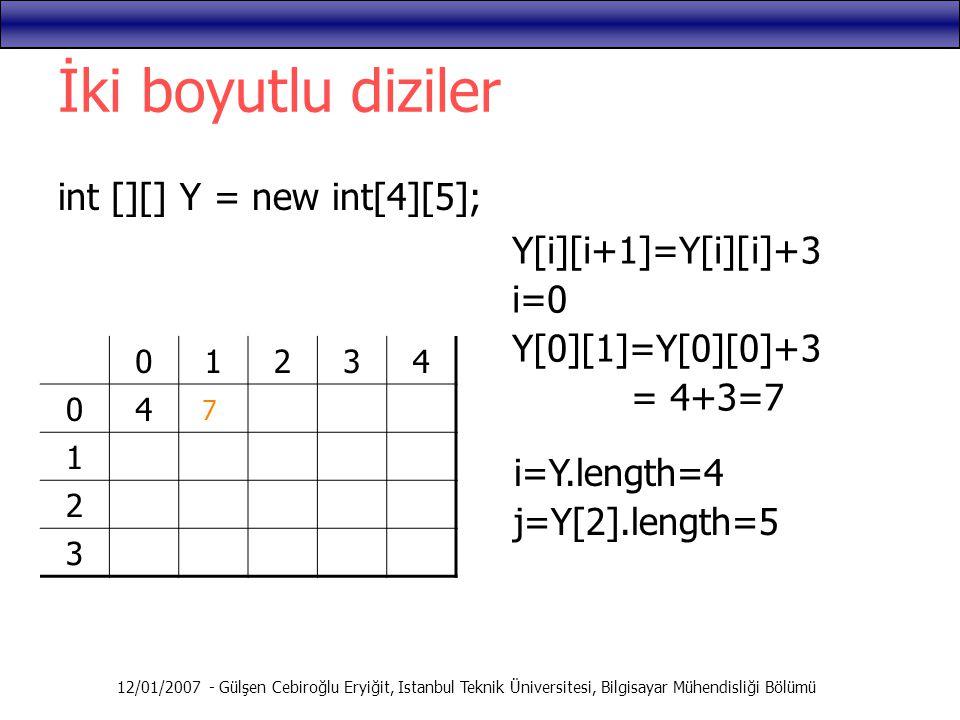 12/01/2007 - Gülşen Cebiroğlu Eryiğit, Istanbul Teknik Üniversitesi, Bilgisayar Mühendisliği Bölümü İki boyutlu diziler int [][] Y = new int[4][5]; 01