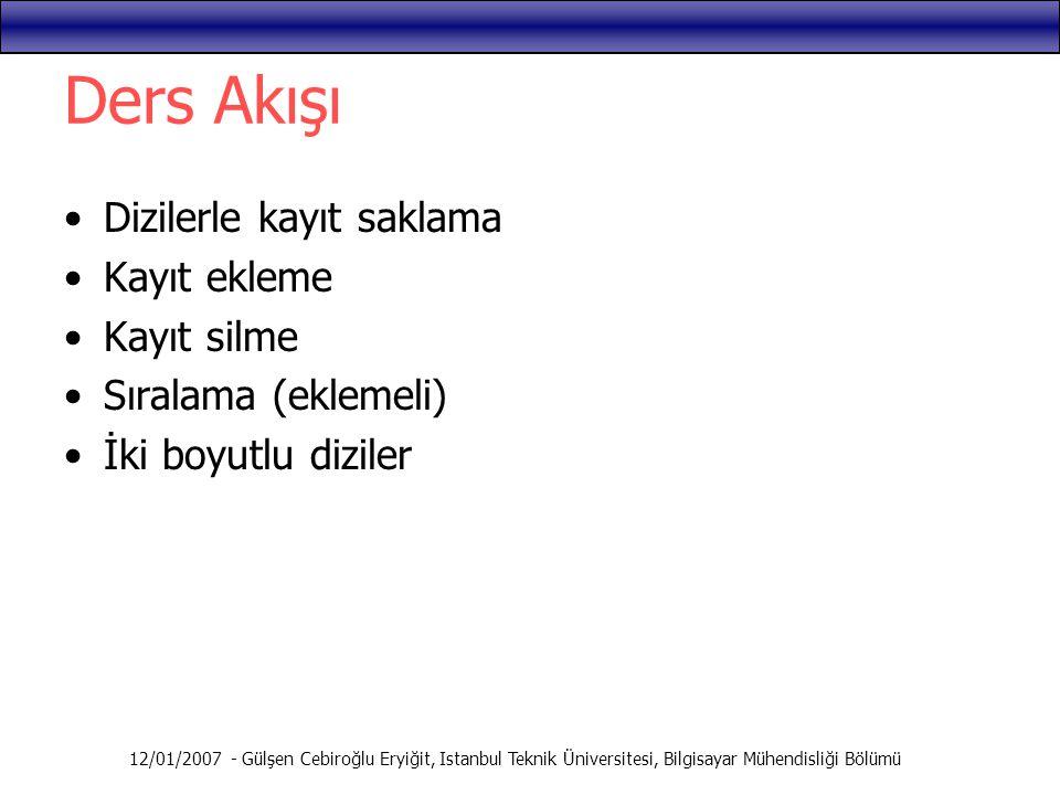12/01/2007 - Gülşen Cebiroğlu Eryiğit, Istanbul Teknik Üniversitesi, Bilgisayar Mühendisliği Bölümü Ders Akışı Dizilerle kayıt saklama Kayıt ekleme Ka