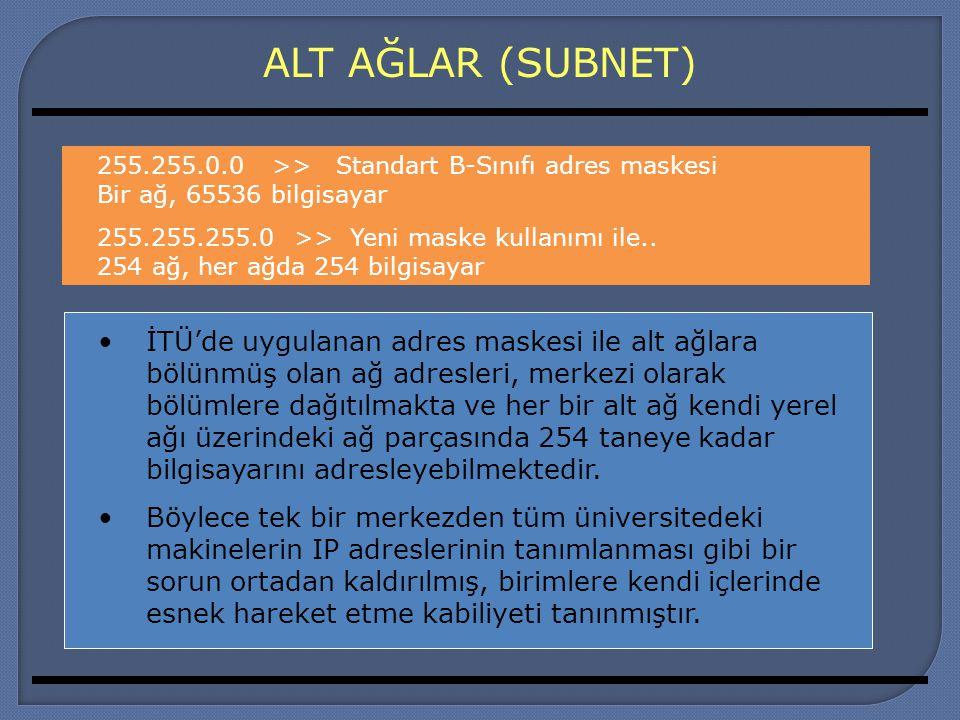 ALT AĞLAR (SUBNET) İTÜ'de uygulanan adres maskesi ile alt ağlara bölünmüş olan ağ adresleri, merkezi olarak bölümlere dağıtılmakta ve her bir alt ağ k