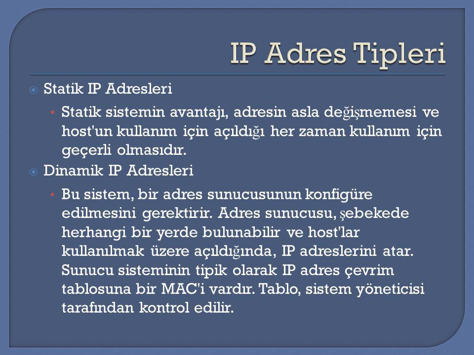  Statik IP Adresleri Statik sistemin avantajı, adresin asla de ğ i ş memesi ve host'un kullanım için açıldı ğ ı her zaman kullanım için geçerli olmas