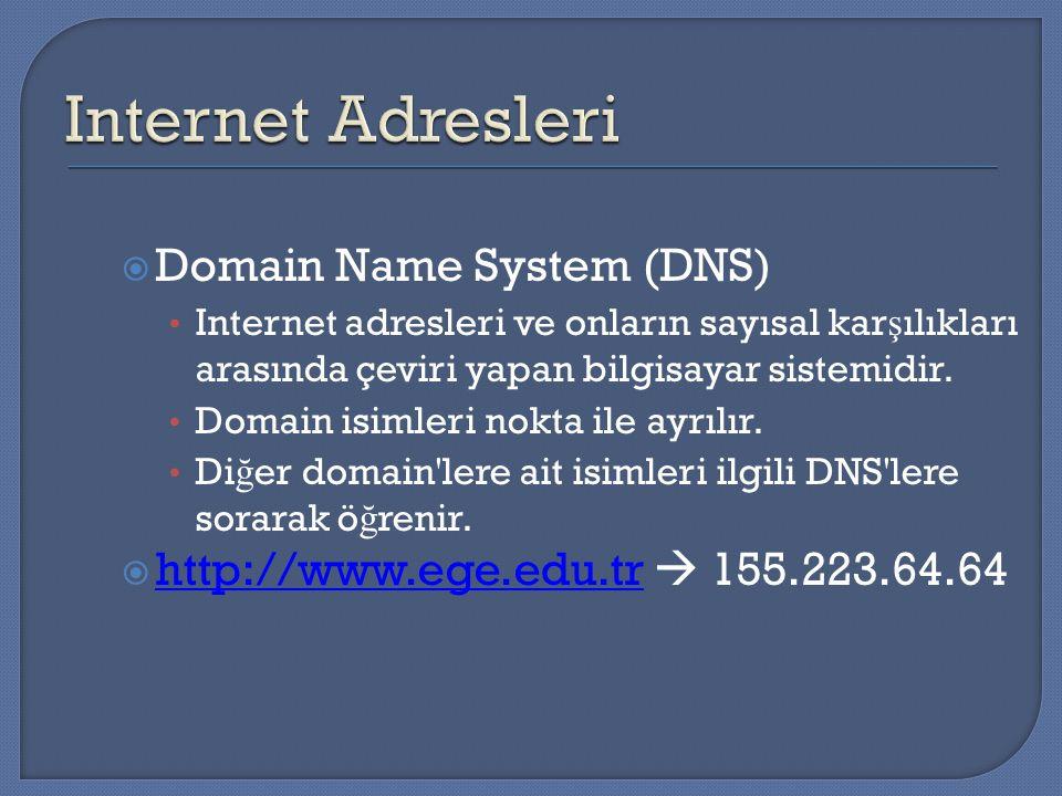  Domain Name System (DNS) Internet adresleri ve onların sayısal kar ş ılıkları arasında çeviri yapan bilgisayar sistemidir. Domain isimleri nokta ile