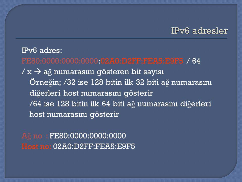 IPv6 adres: FE80:0000:0000:0000:02A0:D2FF:FEA5:E9F5 / 64 / x  a ğ numarasını gösteren bit sayısı Örne ğ in; /32 ise 128 bitin ilk 32 biti a ğ numaras