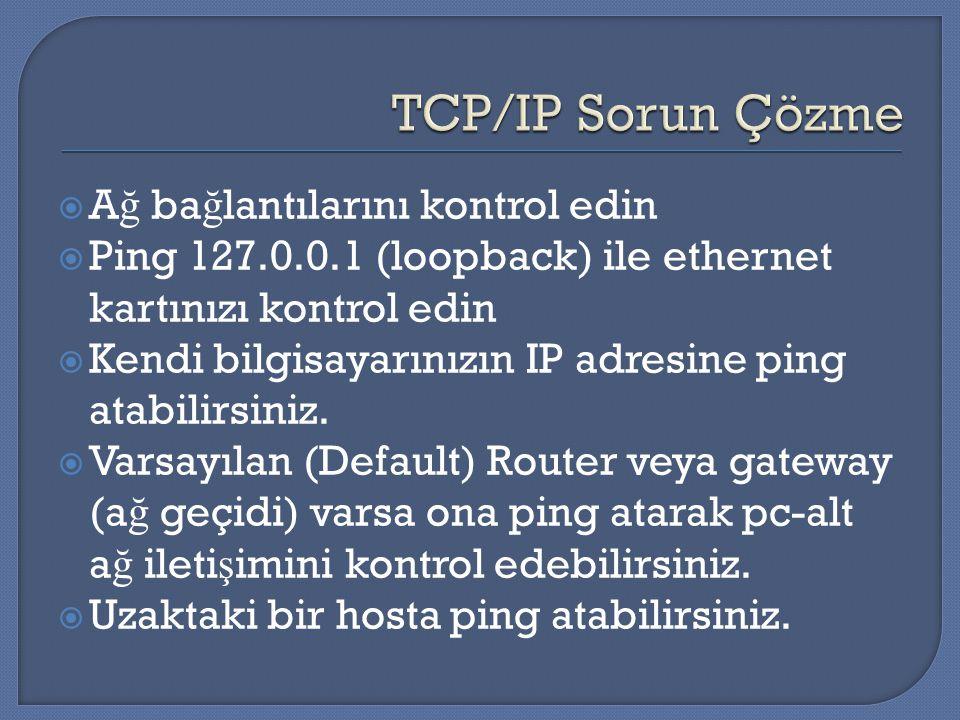  A ğ ba ğ lantılarını kontrol edin  Ping 127.0.0.1 (loopback) ile ethernet kartınızı kontrol edin  Kendi bilgisayarınızın IP adresine ping atabilir