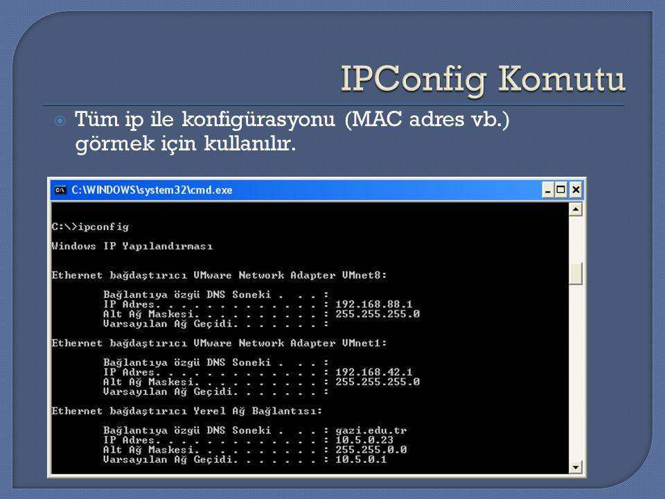  Tüm ip ile konfigürasyonu (MAC adres vb.) görmek için kullanılır.