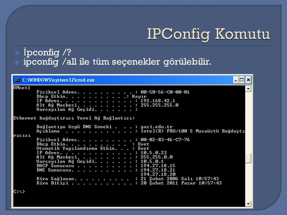  İ pconfig /?  ipconfig /all ile tüm seçenekler görülebilir.