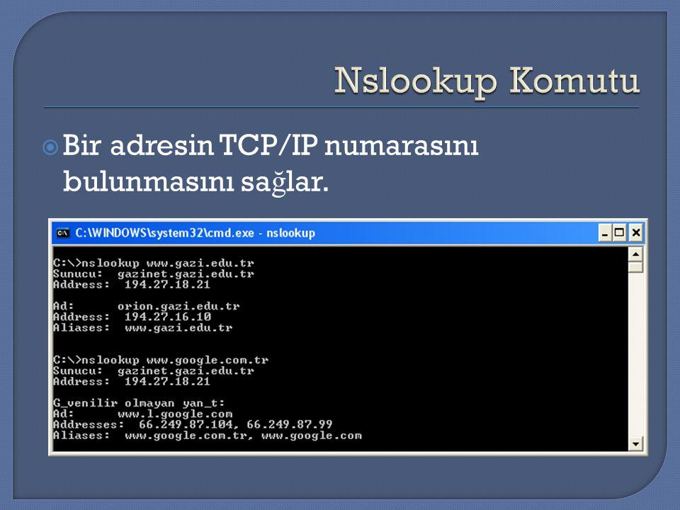  Bir adresin TCP/IP numarasını bulunmasını sa ğ lar.