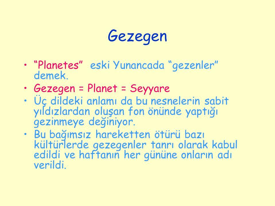 """Gezegen """"Planetes"""" eski Yunancada """"gezenler"""" demek. Gezegen = Planet = Seyyare Üç dildeki anlamı da bu nesnelerin sabit yıldızlardan oluşan fon önünde"""