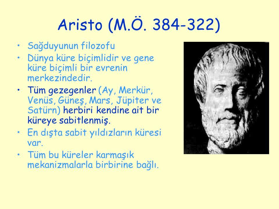 Aristo (M.Ö. 384-322) Sağduyunun filozofu Dünya küre biçimlidir ve gene küre biçimli bir evrenin merkezindedir. Tüm gezegenler (Ay, Merkür, Venüs, Gün