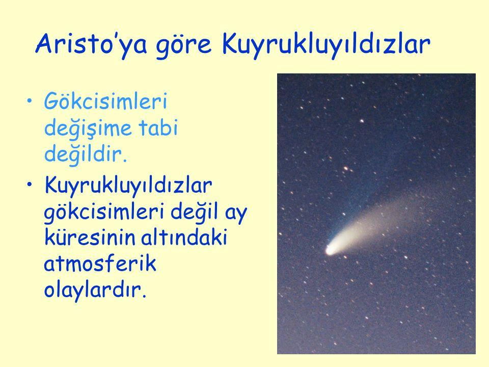 Aristo'ya göre Kuyrukluyıldızlar Gökcisimleri değişime tabi değildir. Kuyrukluyıldızlar gökcisimleri değil ay küresinin altındaki atmosferik olaylardı