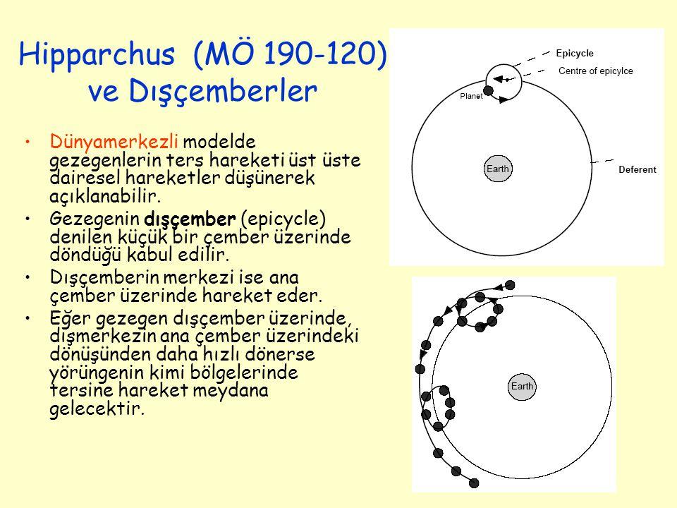 Hipparchus (MÖ 190-120) ve Dışçemberler Dünyamerkezli modelde gezegenlerin ters hareketi üst üste dairesel hareketler düşünerek açıklanabilir.