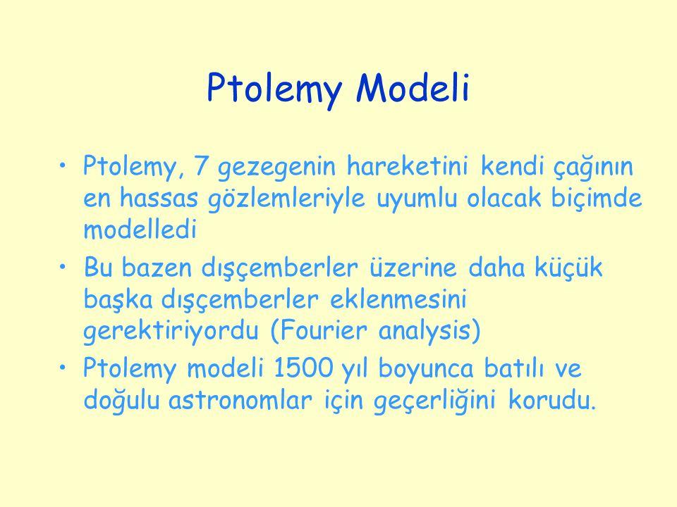 Ptolemy Modeli Ptolemy, 7 gezegenin hareketini kendi çağının en hassas gözlemleriyle uyumlu olacak biçimde modelledi Bu bazen dışçemberler üzerine daha küçük başka dışçemberler eklenmesini gerektiriyordu (Fourier analysis) Ptolemy modeli 1500 yıl boyunca batılı ve doğulu astronomlar için geçerliğini korudu.