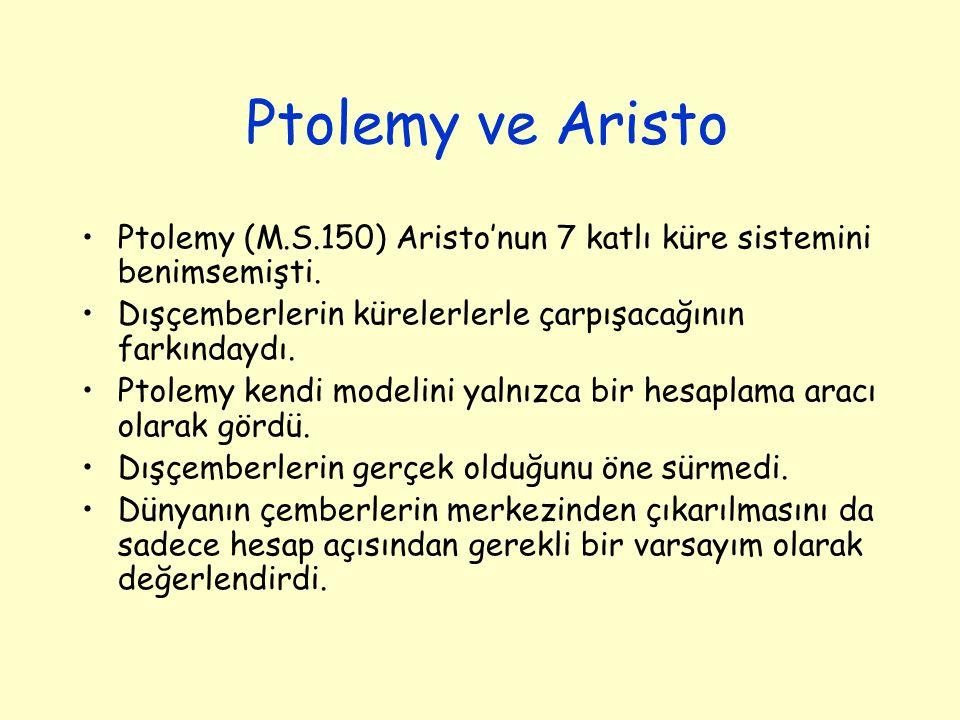 Ptolemy ve Aristo Ptolemy (M.S.150) Aristo'nun 7 katlı küre sistemini benimsemişti. Dışçemberlerin kürelerlerle çarpışacağının farkındaydı. Ptolemy ke