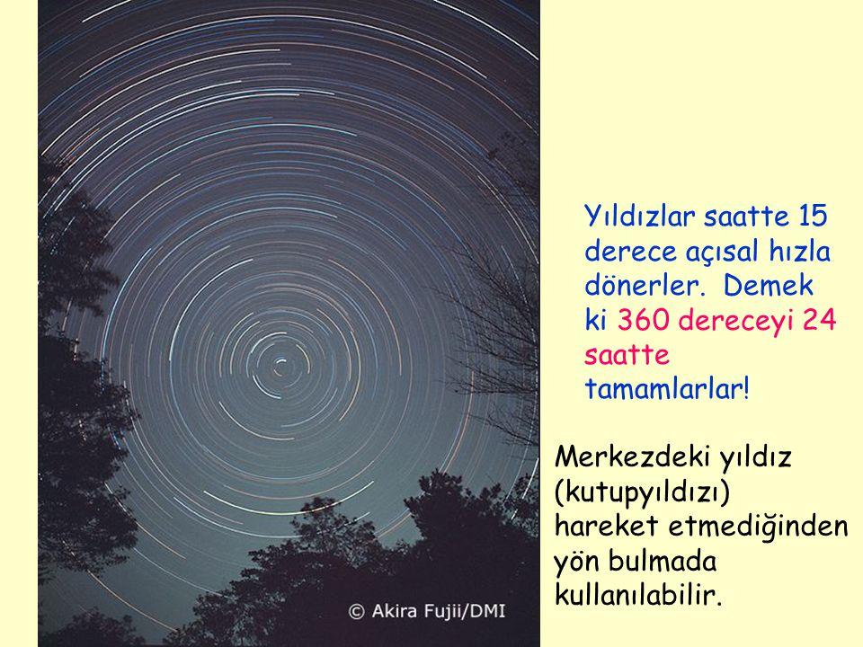 Yıldızlar saatte 15 derece açısal hızla dönerler. Demek ki 360 dereceyi 24 saatte tamamlarlar! Merkezdeki yıldız (kutupyıldızı) hareket etmediğinden y