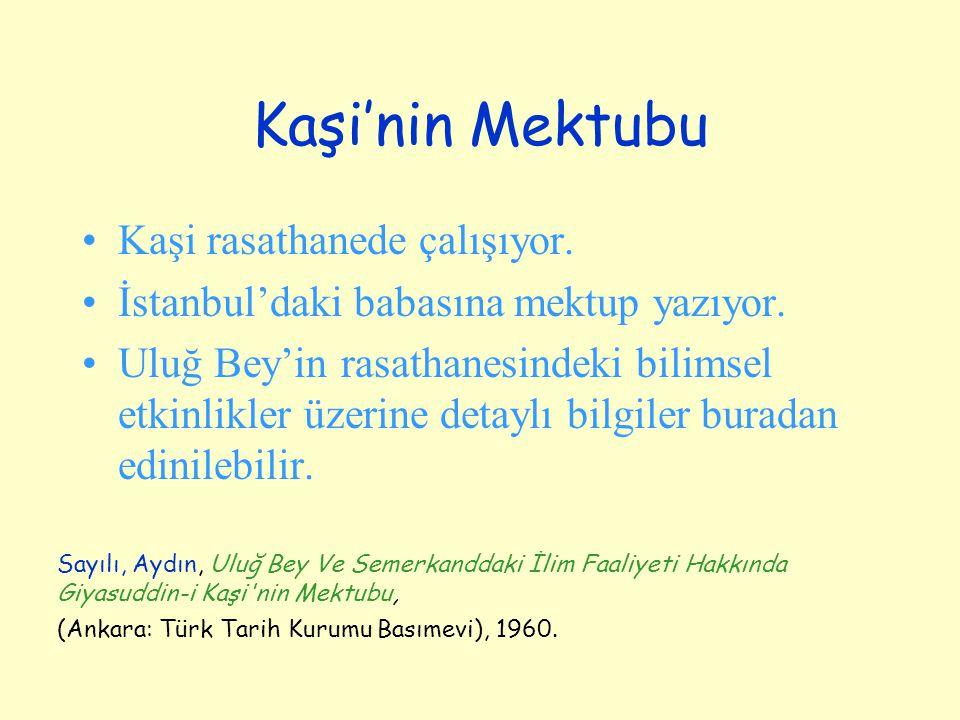 Kaşi'nin Mektubu Kaşi rasathanede çalışıyor. İstanbul'daki babasına mektup yazıyor. Uluğ Bey'in rasathanesindeki bilimsel etkinlikler üzerine detaylı