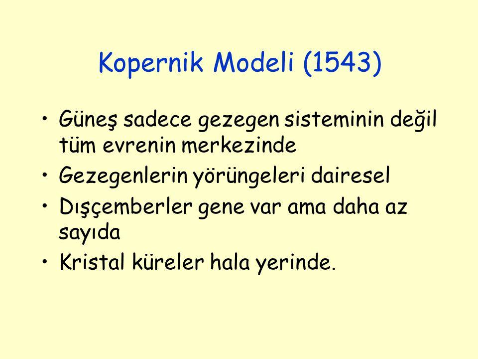 Kopernik Modeli (1543) Güneş sadece gezegen sisteminin değil tüm evrenin merkezinde Gezegenlerin yörüngeleri dairesel Dışçemberler gene var ama daha a