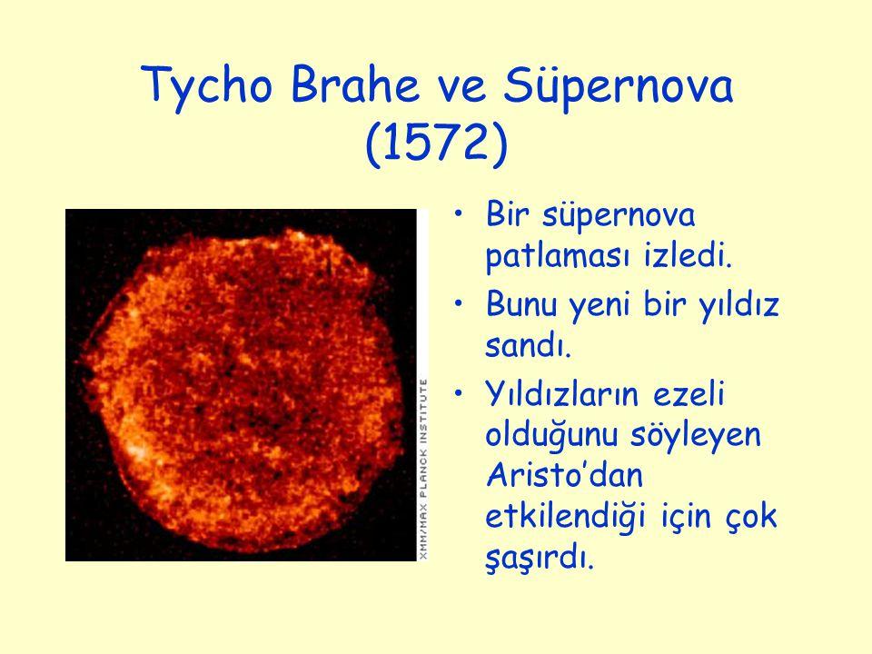 Tycho Brahe ve Süpernova (1572) Bir süpernova patlaması izledi. Bunu yeni bir yıldız sandı. Yıldızların ezeli olduğunu söyleyen Aristo'dan etkilendiği