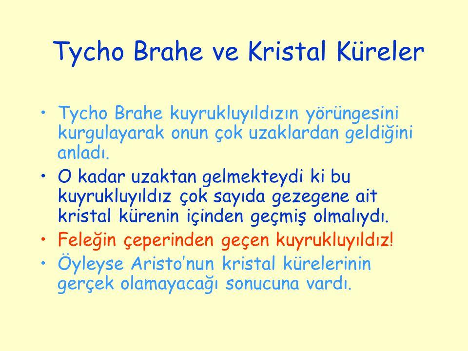 Tycho Brahe ve Kristal Küreler Tycho Brahe kuyrukluyıldızın yörüngesini kurgulayarak onun çok uzaklardan geldiğini anladı. O kadar uzaktan gelmekteydi