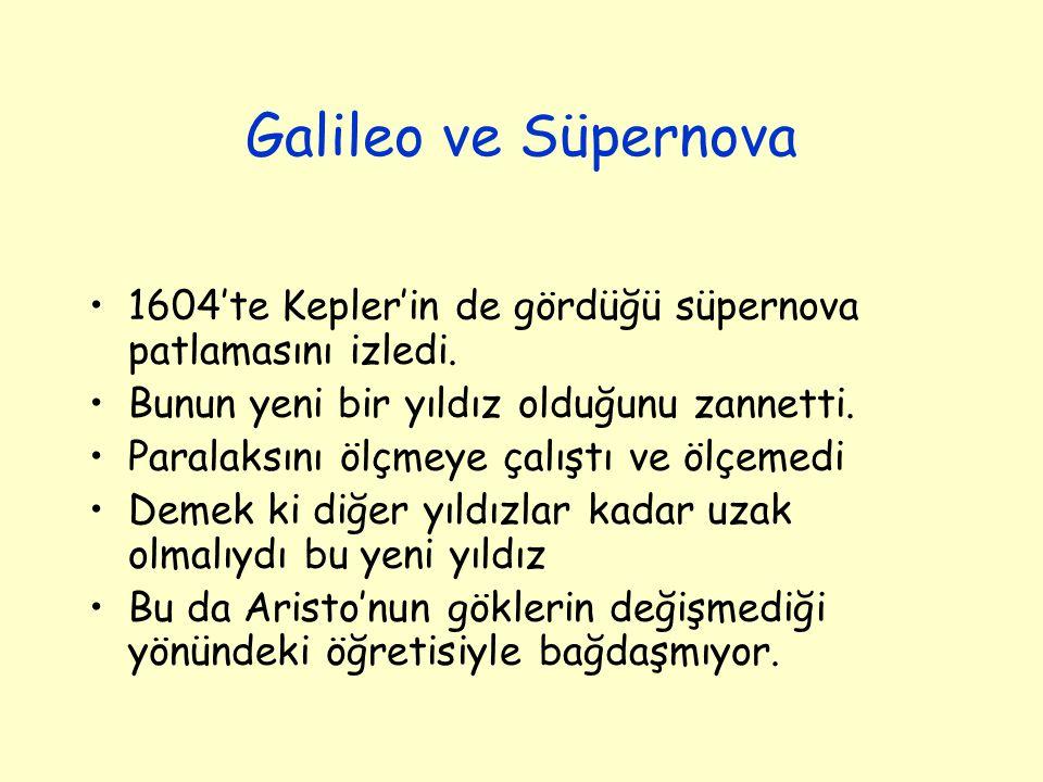 Galileo ve Süpernova 1604'te Kepler'in de gördüğü süpernova patlamasını izledi. Bunun yeni bir yıldız olduğunu zannetti. Paralaksını ölçmeye çalıştı v