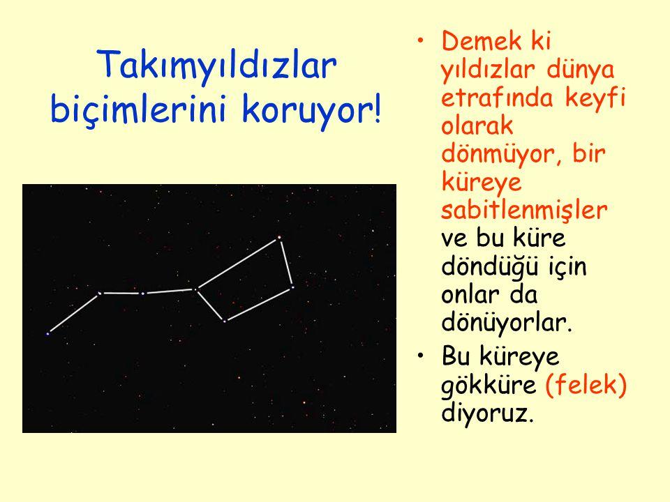 Takımyıldızlar Takımyıldızlar fiziksel olarak birbirlerine yakın olmasalar bile gökküre üzerindeki izdüşümleri birbirine yakın olduğu için bir arada görünen yıldızlardan oluşur.