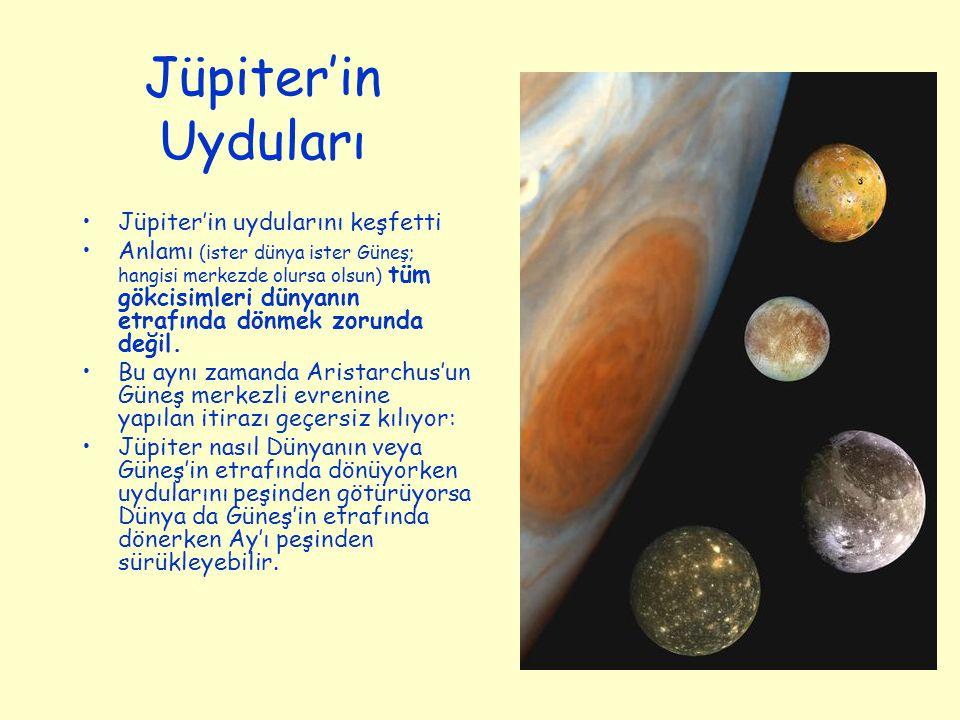 Jüpiter'in Uyduları Jüpiter'in uydularını keşfetti Anlamı (ister dünya ister Güneş; hangisi merkezde olursa olsun) tüm gökcisimleri dünyanın etrafında dönmek zorunda değil.