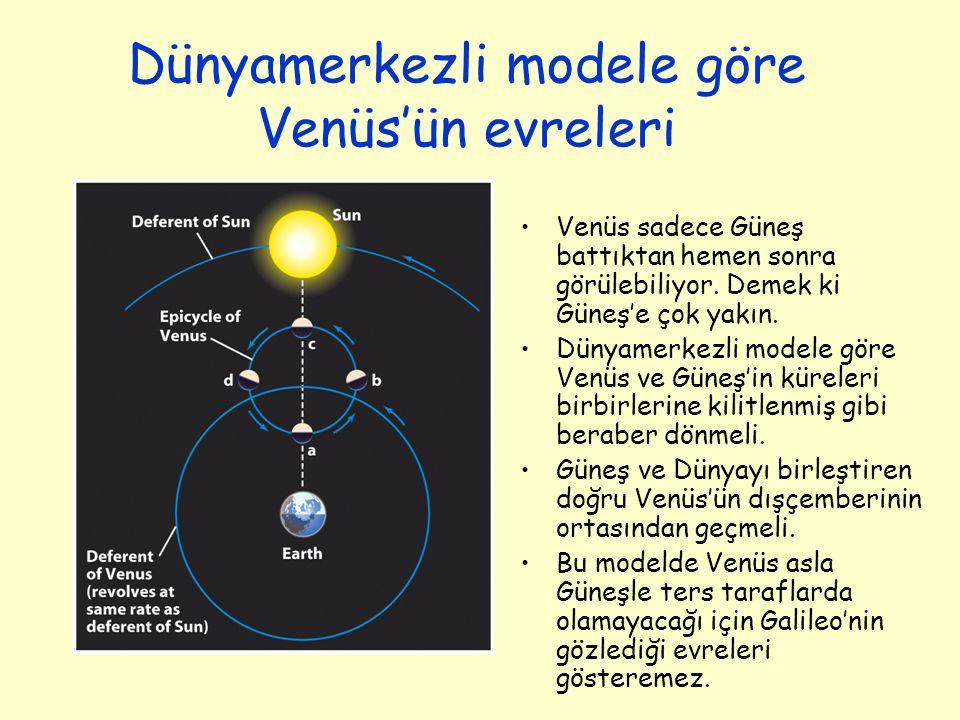Dünyamerkezli modele göre Venüs'ün evreleri Venüs sadece Güneş battıktan hemen sonra görülebiliyor. Demek ki Güneş'e çok yakın. Dünyamerkezli modele g
