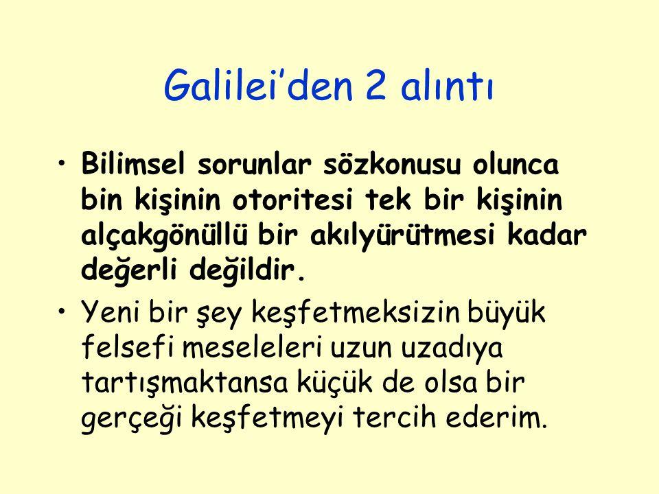 Galilei'den 2 alıntı Bilimsel sorunlar sözkonusu olunca bin kişinin otoritesi tek bir kişinin alçakgönüllü bir akılyürütmesi kadar değerli değildir. Y