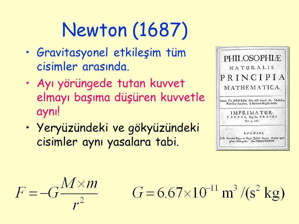 Newton (1687) Gravitasyonel etkileşim tüm cisimler arasında. Ayı yörüngede tutan kuvvet elmayı başıma düşüren kuvvetle aynı! Yeryüzündeki ve gökyüzünd