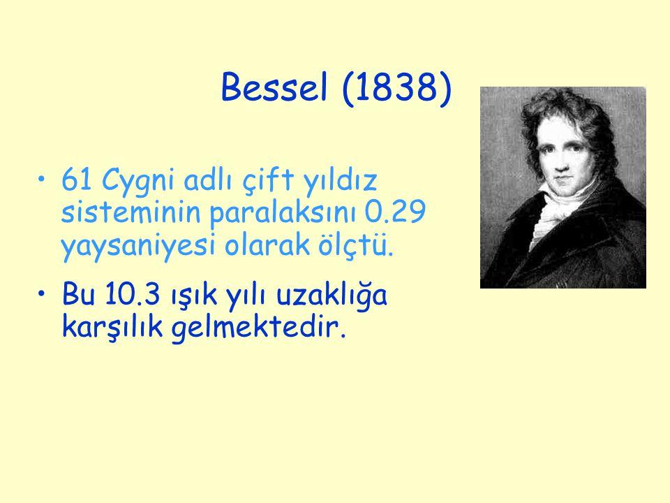 Bessel (1838) 61 Cygni adlı çift yıldız sisteminin paralaksını 0.29 yaysaniyesi olarak ölçtü. Bu 10.3 ışık yılı uzaklığa karşılık gelmektedir.