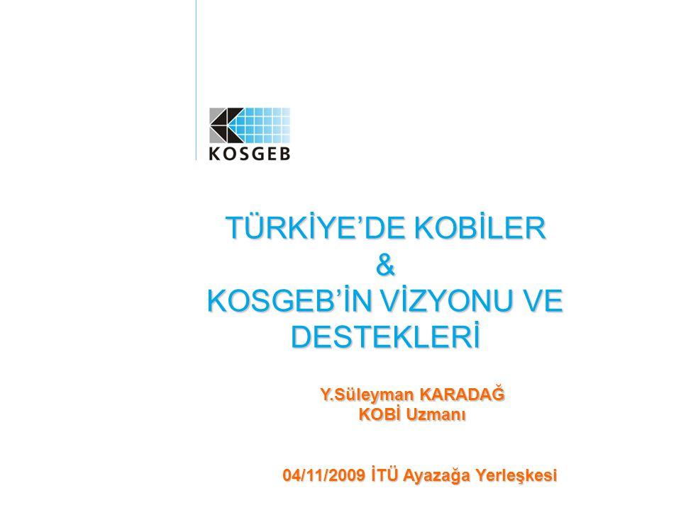 İÇERİK Genel Olarak KOBİ'ler ve Türkiye'de KOBİ'ler KOSGEB ve KOBİ Destek Sistemi KOSGEB Teknoloji Geliştirme Destekleri Genç Girişimci Geliştirme Programı