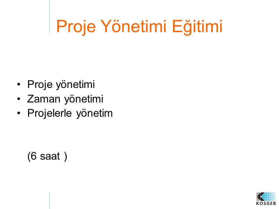 Proje Yönetimi Eğitimi Proje yönetimi Zaman yönetimi Projelerle yönetim (6 saat )