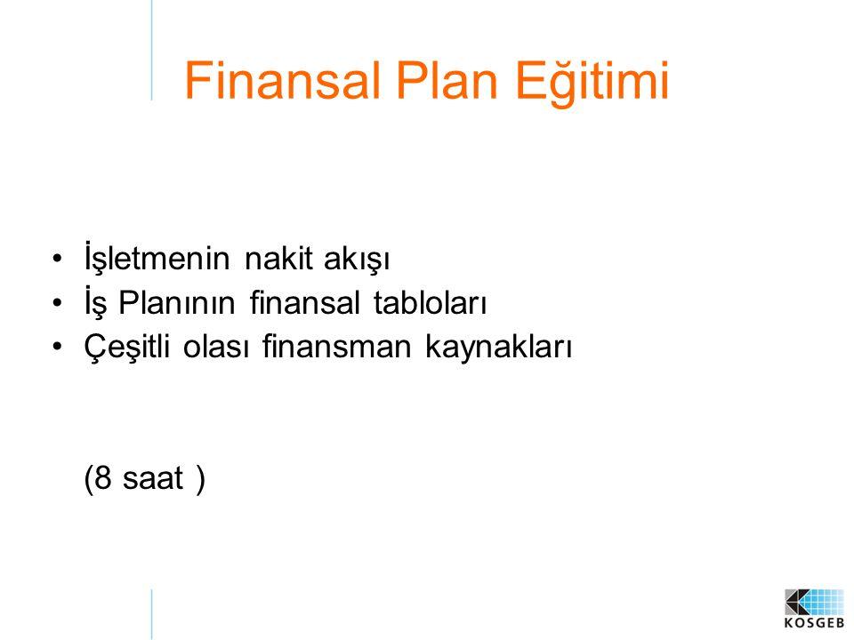 Finansal Plan Eğitimi İşletmenin nakit akışı İş Planının finansal tabloları Çeşitli olası finansman kaynakları (8 saat )