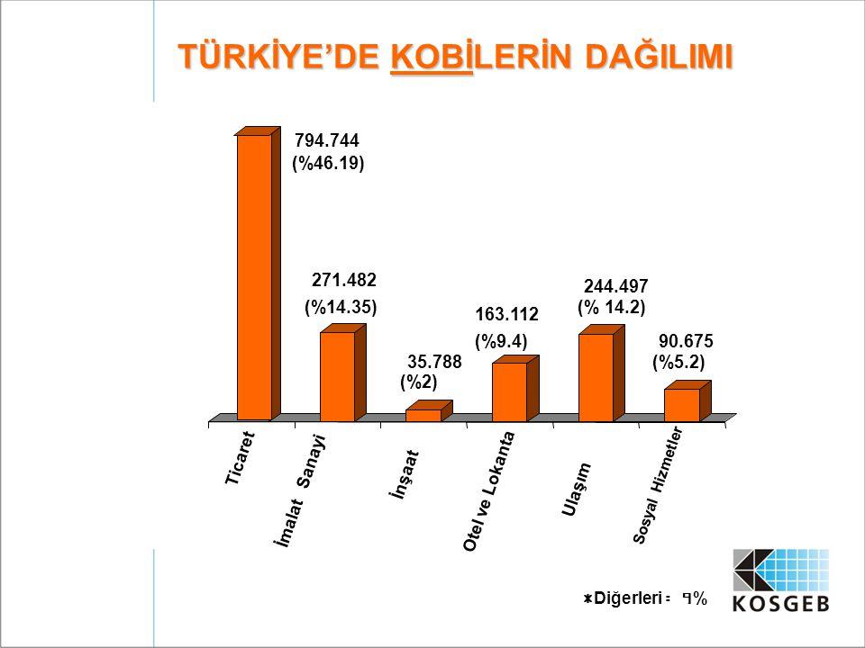 TÜRKİYE'DE KOBİLERİN DAĞILIMI 794.744 (%46.19) 271.482 (%14.35) 35.788 (%2) 163.112 (%9.4) 244.497 (% 14.2) 90.675 (%5.2) Ticaret İmalat Sanayi İnşaat