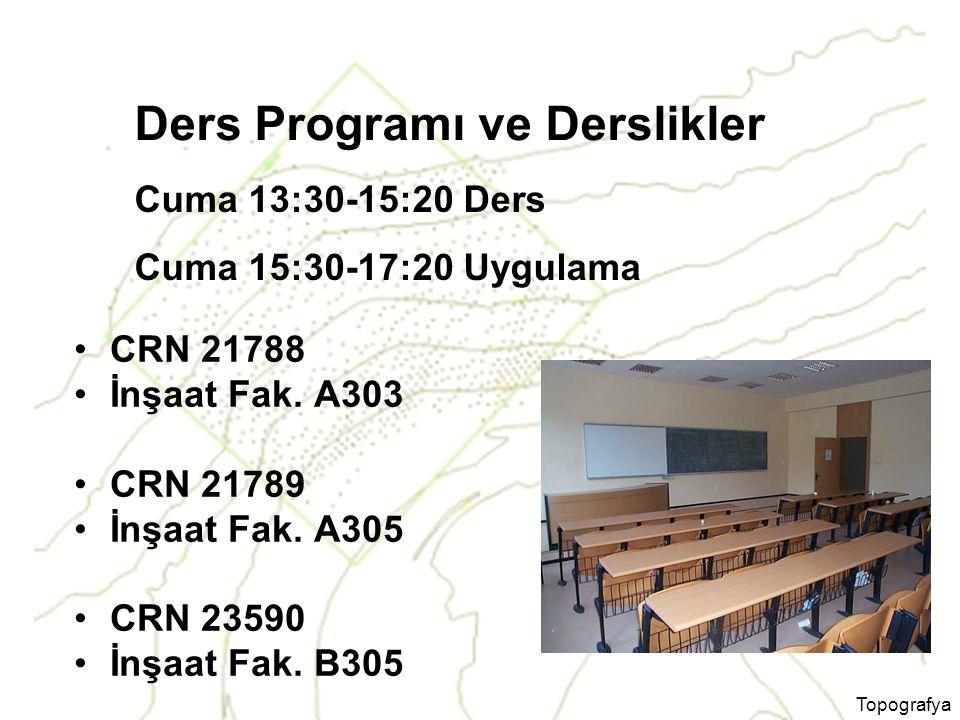 Topografya Ders Programı ve Derslikler CRN 21788 İnşaat Fak. A303 CRN 21789 İnşaat Fak. A305 CRN 23590 İnşaat Fak. B305 Cuma 13:30-15:20 Ders Cuma 15: