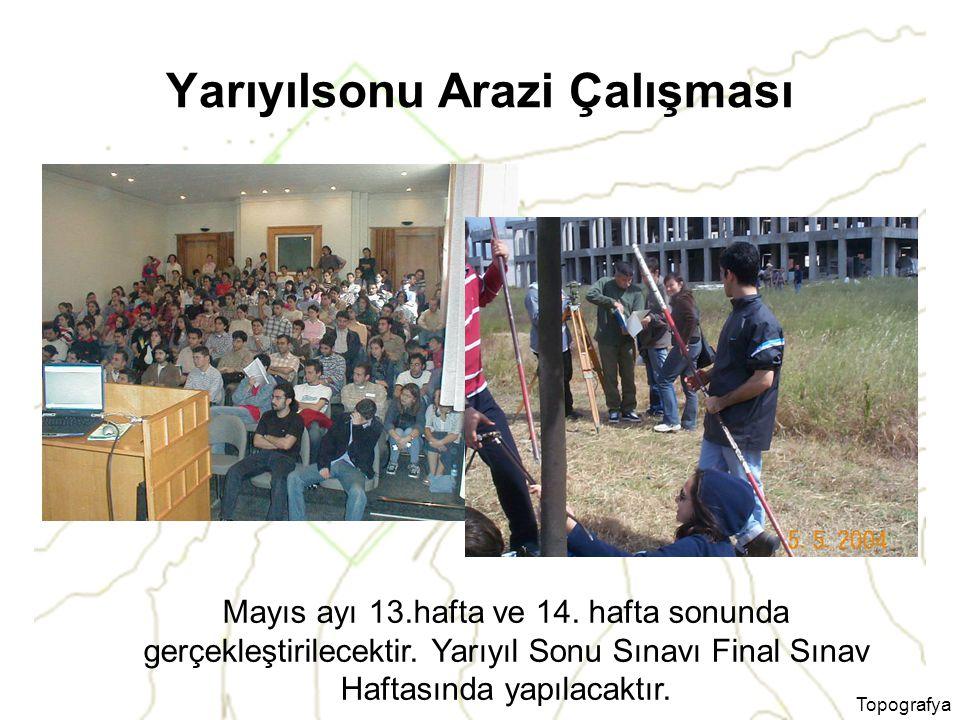 Topografya Yarıyılsonu Arazi Çalışması Mayıs ayı 13.hafta ve 14.