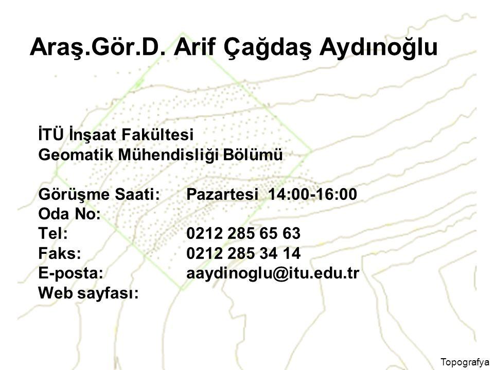 Topografya Araş.Gör.D. Arif Çağdaş Aydınoğlu İTÜ İnşaat Fakültesi Geomatik Mühendisliği Bölümü Görüşme Saati: Pazartesi 14:00-16:00 Oda No: Tel: 0212