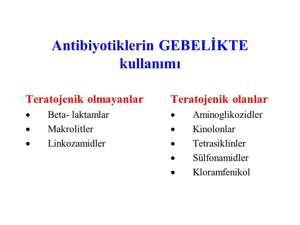 Antibiyotiklerin GEBELİKTE kullanımı Teratojenik olmayanlar  Beta- laktamlar  Makrolitler  Linkozamidler Teratojenik olanlar  Aminoglikozidler  Kinolonlar  Tetrasiklinler  Sülfonamidler  Kloramfenikol