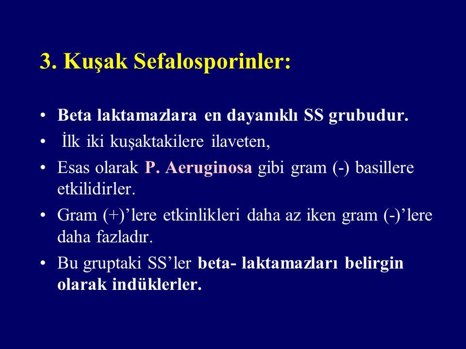 3. Kuşak Sefalosporinler: Beta laktamazlara en dayanıklı SS grubudur. İlk iki kuşaktakilere ilaveten, Esas olarak P. Aeruginosa gibi gram (-) basiller