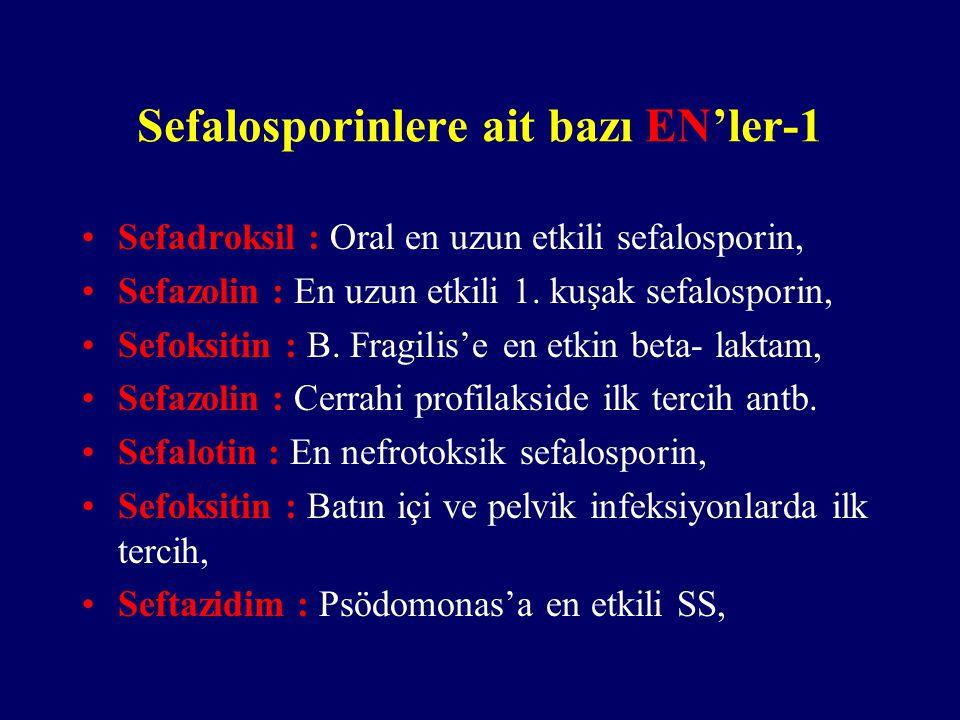 Sefalosporinlere ait bazı EN'ler-1 Sefadroksil : Oral en uzun etkili sefalosporin, Sefazolin : En uzun etkili 1. kuşak sefalosporin, Sefoksitin : B. F