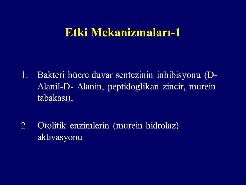Etki Mekanizmaları-1 1.Bakteri hücre duvar sentezinin inhibisyonu (D- Alanil-D- Alanin, peptidoglikan zincir, murein tabakası), 2. Otolitik enzimlerin