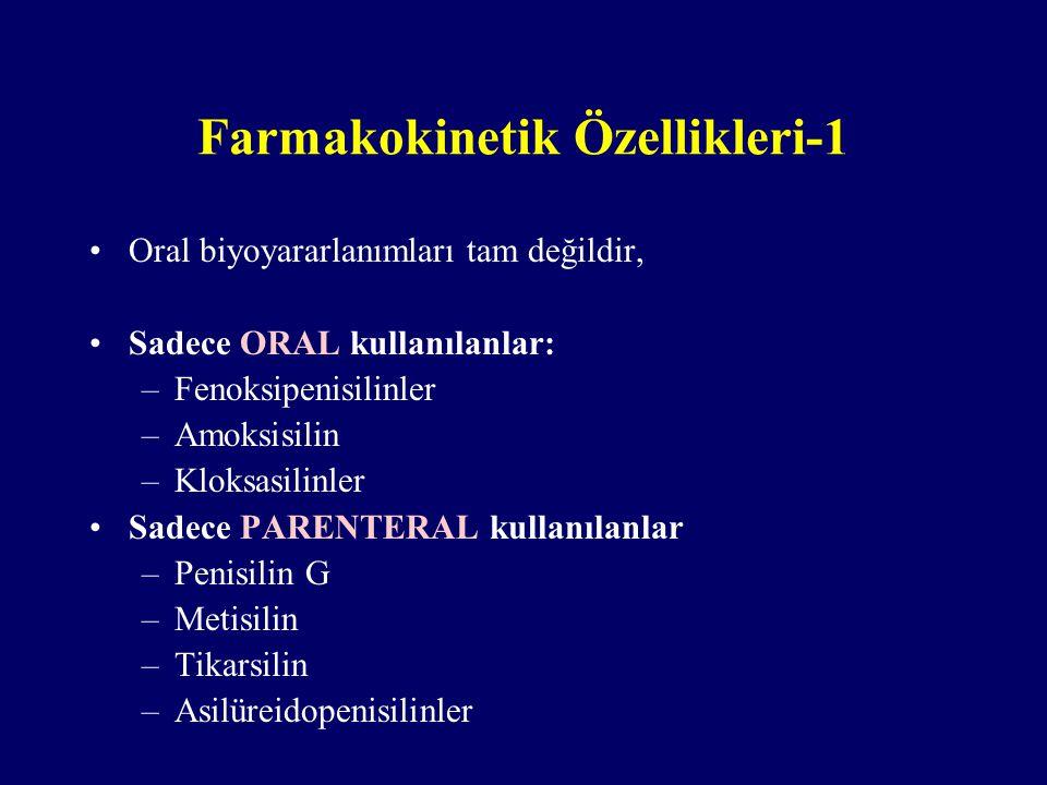 Farmakokinetik Özellikleri-1 Oral biyoyararlanımları tam değildir, Sadece ORAL kullanılanlar: –Fenoksipenisilinler –Amoksisilin –Kloksasilinler Sadece