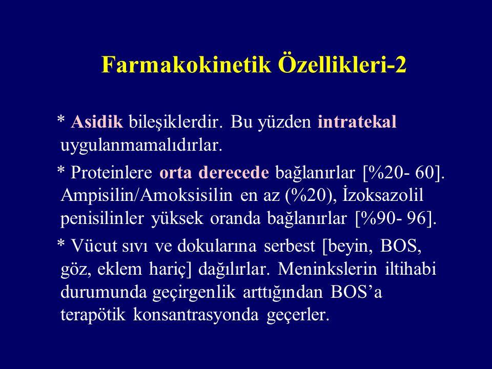 Farmakokinetik Özellikleri-2 * Asidik bileşiklerdir. Bu yüzden intratekal uygulanmamalıdırlar. * Proteinlere orta derecede bağlanırlar [%20- 60]. Ampi