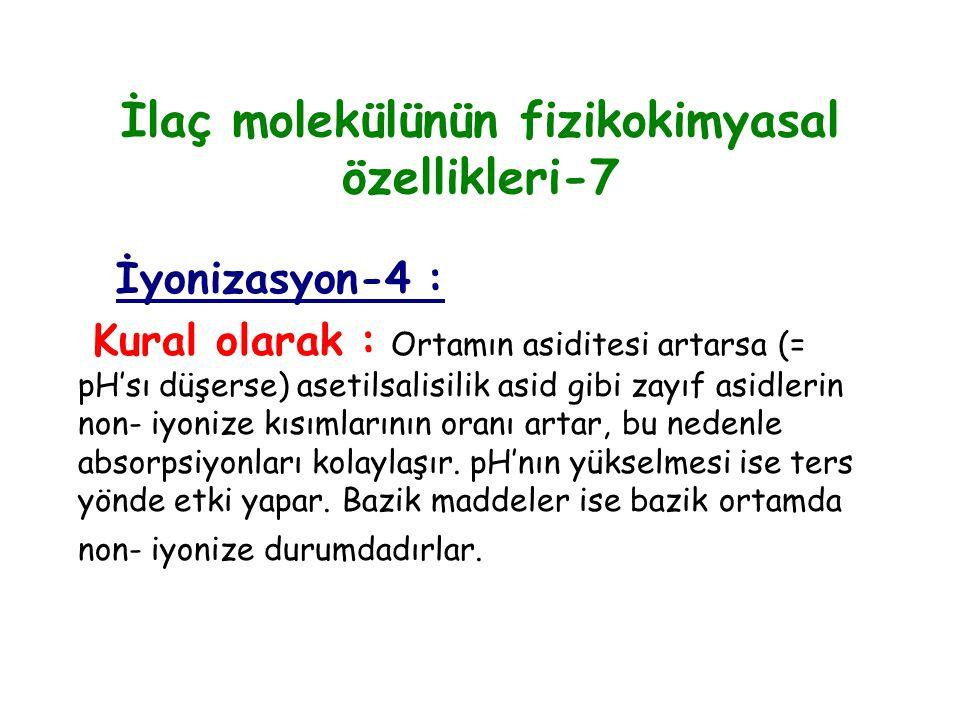 İlaç molekülünün fizikokimyasal özellikleri-7 İyonizasyon-4 : Kural olarak : Ortamın asiditesi artarsa (= pH'sı düşerse) asetilsalisilik asid gibi zay