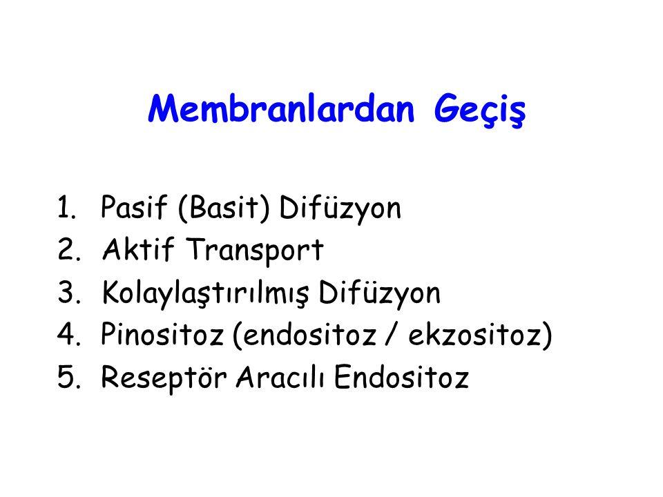 Membranlardan Geçiş 1.Pasif (Basit) Difüzyon 2.Aktif Transport 3.Kolaylaştırılmış Difüzyon 4.Pinositoz (endositoz / ekzositoz) 5.Reseptör Aracılı Endo