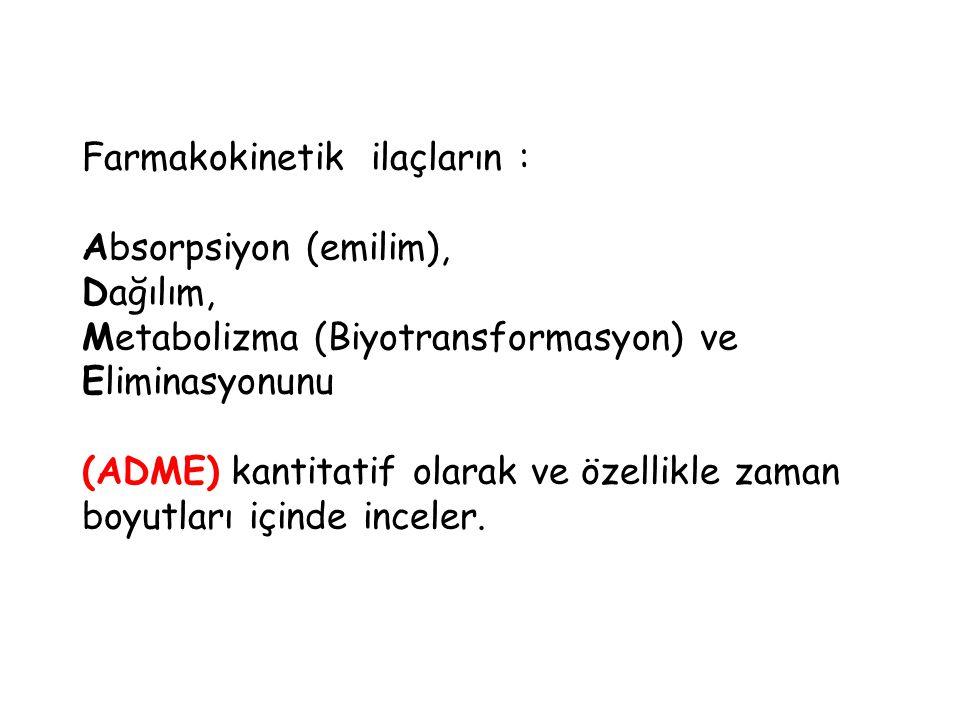 Farmakokinetik ilaçların : Absorpsiyon (emilim), Dağılım, Metabolizma (Biyotransformasyon) ve Eliminasyonunu (ADME) kantitatif olarak ve özellikle zam