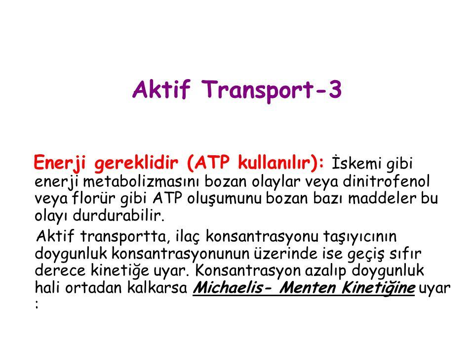 Aktif Transport-3 Enerji gereklidir (ATP kullanılır): İskemi gibi enerji metabolizmasını bozan olaylar veya dinitrofenol veya florür gibi ATP oluşumun