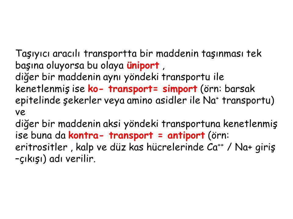 Taşıyıcı aracılı transportta bir maddenin taşınması tek başına oluyorsa bu olaya üniport, diğer bir maddenin aynı yöndeki transportu ile kenetlenmiş i