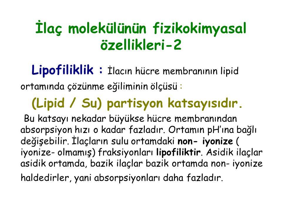 İlaç molekülünün fizikokimyasal özellikleri-2 Lipofiliklik : İlacın hücre membranının lipid ortamında çözünme eğiliminin ölçüsü : (Lipid / Su) partisy