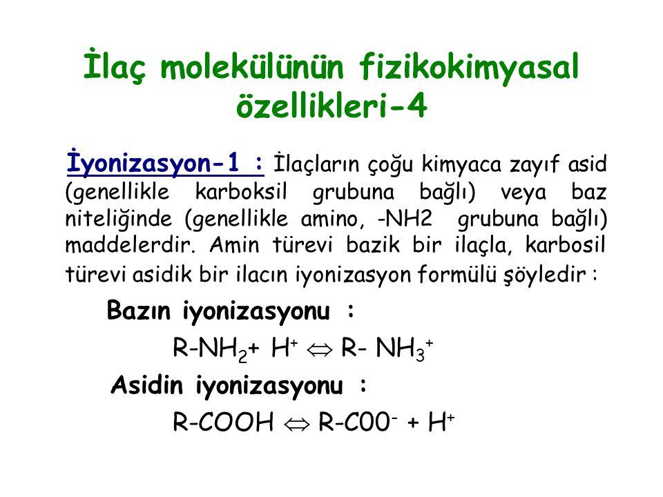İlaç molekülünün fizikokimyasal özellikleri-4 İyonizasyon-1 : İlaçların çoğu kimyaca zayıf asid (genellikle karboksil grubuna bağlı) veya baz niteliği